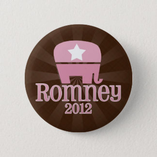 Cute Pink Elephant, Romney 2012 Button