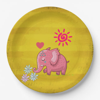 Cute Pink Elephant Smelling The Flowers With Heart Paper Plate