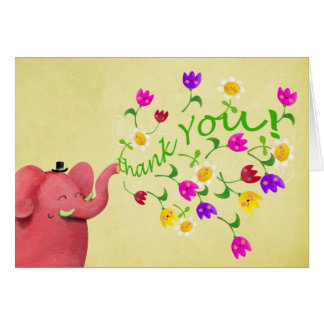 Cute Pink Elephant Thank You Card