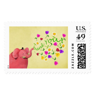 Cute Pink Elephant Thank You Postage Stamp