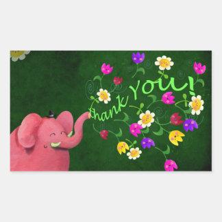 Cute Pink Elephant Thank You Rectangular Sticker