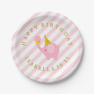 Cute Pink Elephants Personalized Birthday Party 7 Inch Paper Plate