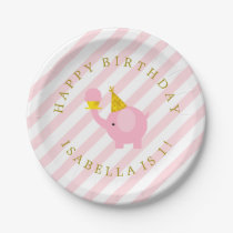 Cute Pink Elephants Personalized Birthday Party Paper Plate