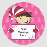 Cute Pink Elf Christmas Gift Tag Sticker