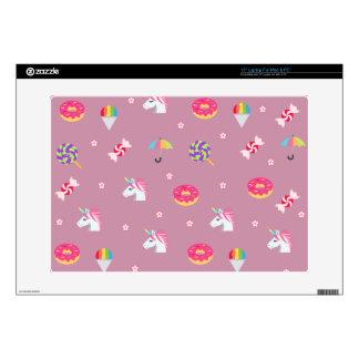 "cute pink emoji unicorns candies flowers lollipops 15"" laptop decal"