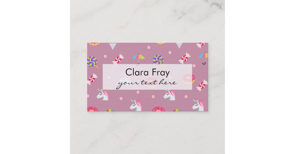 cute pink emoji unicorns candies flowers lollipops business card
