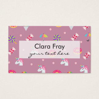 cute pink emoji unicorns candies flowers lollipops business card