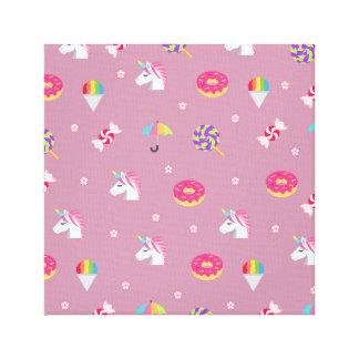 cute pink emoji unicorns candies flowers lollipops canvas print