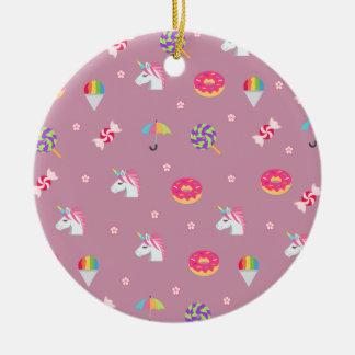 cute pink emoji unicorns candies flowers lollipops ceramic ornament