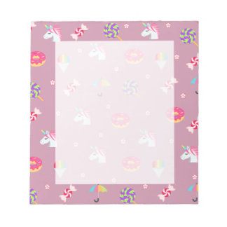 cute pink emoji unicorns candies flowers lollipops notepad
