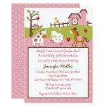 Cute Pink Farm Animal Baby Shower Card