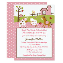Cute Pink Farm Animal Baby Shower Card