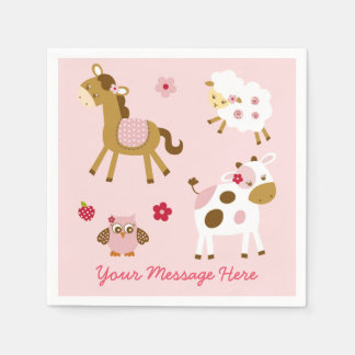 Cute Pink Farm Animal Baby Shower Napkin