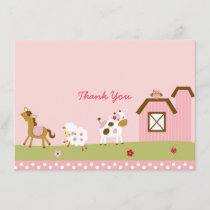 Cute Pink Farm Animal Baby Shower Thank You
