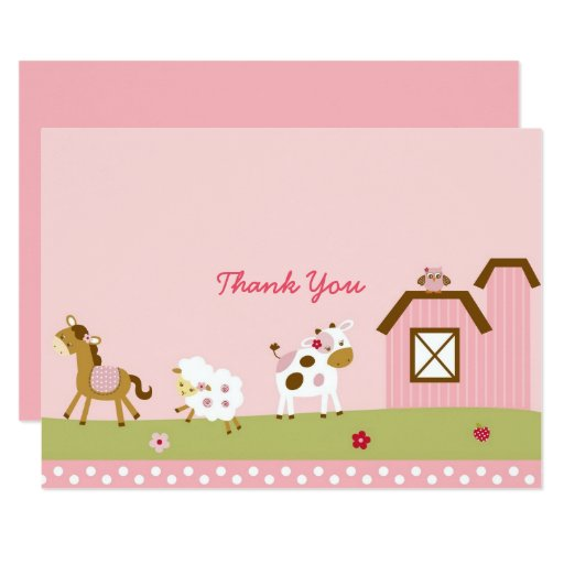 Cute Pink Farm Animal Baby Shower Thank You Card