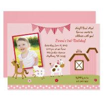 Cute Pink Farm Animal Birthday Card