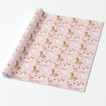 Cute Pink Farm Animal Birthday Wrapping Paper