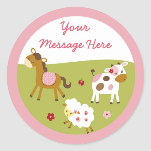 Cute Pink Farm Animal Classic Round Sticker