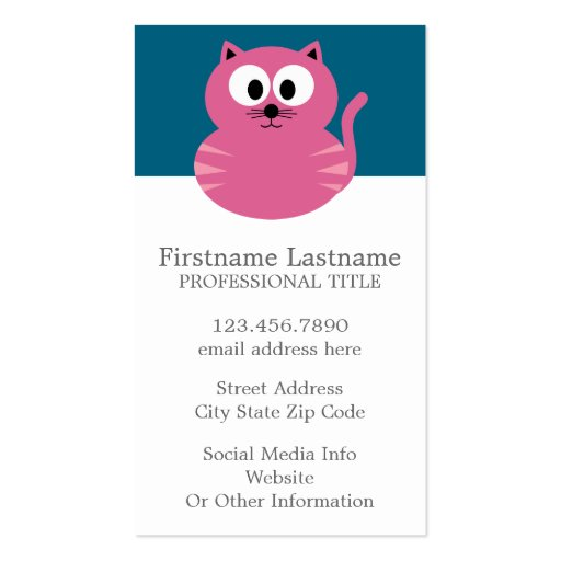 Cute Pink Fat Cat - Blue Background Business Card Templates