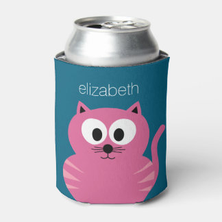 Cute Pink Fat Cat - Blue Background Can Cooler