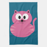 Cute Pink Fat Cat - Blue Background Hand Towel