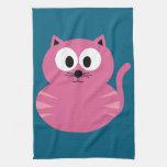 Cute Pink Fat Cat - Blue Background Kitchen Towels