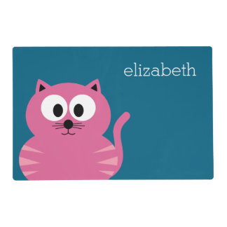 Cute Pink Fat Cat - Blue Background Placemat