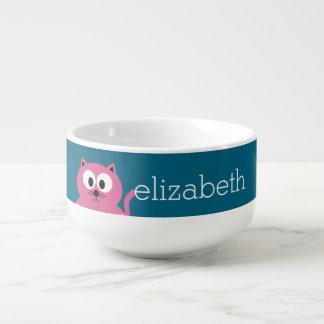 Cute Pink Fat Cat - Blue Background Soup Mug