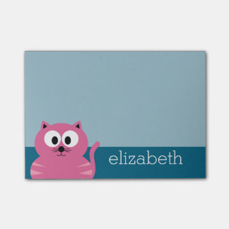 Cute Pink Fat Cat - Blue Background Post-it® Notes