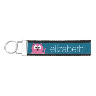 Cute Pink Fat Cat - Blue Background Wrist Keychain