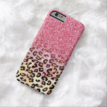 Cute pink faux glitter leopard animal print barely there iPhone 6 case