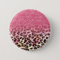 Cute pink faux glitter leopard animal print button