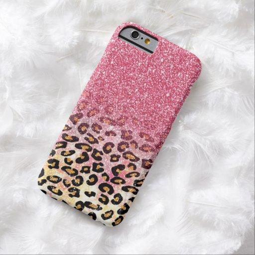 Cute pink faux glitter leopard animal print iPhone 6 case