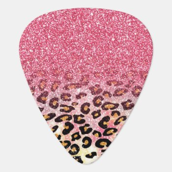 Cute Pink Faux Glitter Leopard Animal Print Guitar Pick by InovArtS at Zazzle