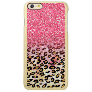 Cute pink faux glitter leopard animal print incipio feather shine iPhone 6 plus case