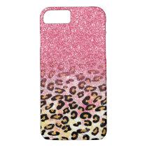 Cute pink faux glitter leopard animal print iPhone 8/7 case