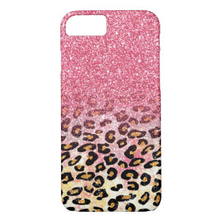 Cute pink faux glitter leopard animal print iPhone 8/7 case