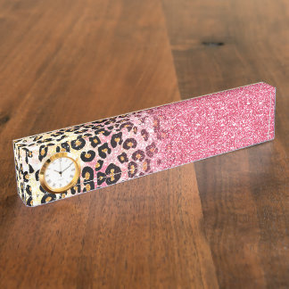 Cute pink faux glitter leopard animal print nameplate