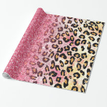 Cute pink faux glitter leopard animal print wrapping paper