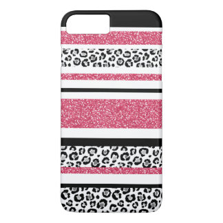 Cute pink faux glitter leopard print stripes iPhone 8 plus/7 plus case