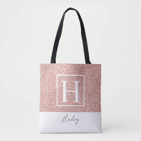 Cute Pink Faux Glitter Monogram Tote Bag