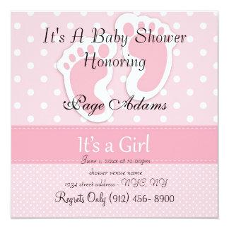 Cute Pink Feet & Dots Baby Shower Invitation