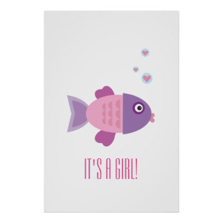 Cute Pink Fish - Gender Reveal or Baby Shower Poster