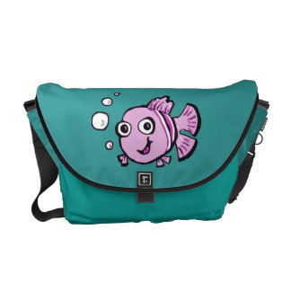 Cute Pink Fish Courier Bag