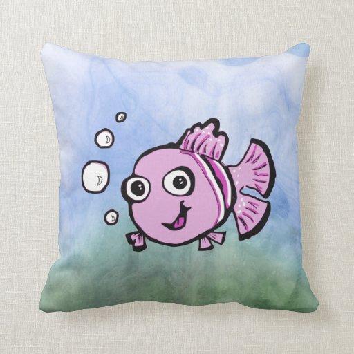 Cute Pink Fish Pillow Zazzle