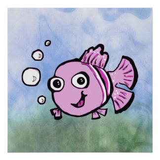 Cute Pink Fish Posters