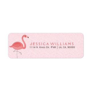 Cute Pink Flamingo Illustration On Pink Label