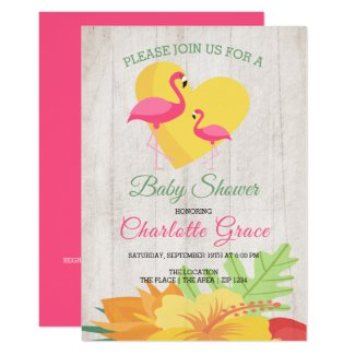 Cute Pink Flamingo Personalized Baby Shower Invitation