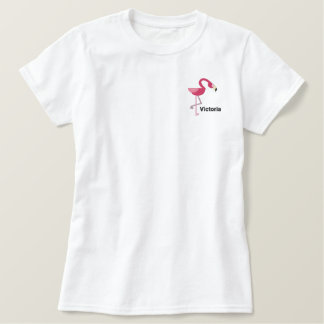 Cute Pink  Flamingo Personalized Embroidered Shirt