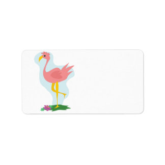 cute pink flamingo standing in the yard label